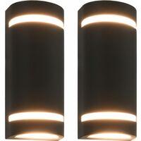 vidaXL Outdoor Wall Lights 2 pcs 35 W Black Half-round - Black