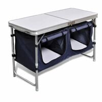 vidaXL Foldable Camping Cupboard with Aluminium Frame - Silver