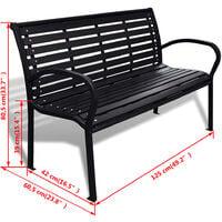 vidaXL Garden Bench 125 cm Steel and WPC Black - Black