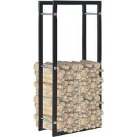 vidaXL Firewood Rack Black 44x20x100 cm Steel - Black