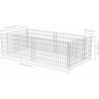 vidaXL Gabion Planter Galvanised Steel 180x90x50 cm - Silver