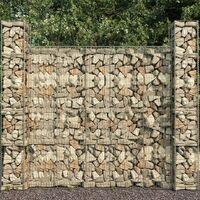 vidaXL Gabion Baskets 3 pcs Galvanised Steel 25x25x197 cm - Silver