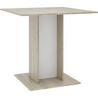 vidaXL Dining Table 80x80x75 cm Chipboard White and Sonoma Oak - Multicolour