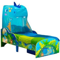 Worlds Apart Toddler Bed with Drawer Dinosaurs 142x77x138cm Blue and Green - Blue
