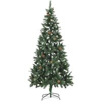 vidaXL Artificial Christmas Tree with Pine Cones and White Glitter 210 cm - Green
