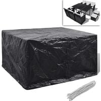 Garden Furniture Cover Poly Rattan Set 6 Person 8 Eyelets 172 x 113cm - Black