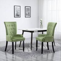 vidaXL Dining Chair with Armrests Light Green Velvet - Green