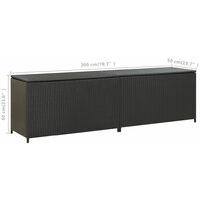 vidaXL Garden Storage Box Poly Rattan 200x50x60 cm Black - Black