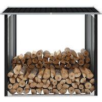 vidaXL Log Storage Shed Galvanised Steel 172x91x154 cm Anthracite - Anthracite