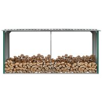 vidaXL Garden Log Storage Shed Galvanised Steel 330x92x153 cm Green - Green