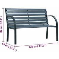 vidaXL Garden Bench 120 cm Grey Wood - Grey