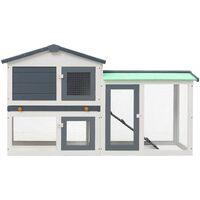 vidaXL Outdoor Large Rabbit Hutch Grey and White 145x45x85 cm Wood - Grey