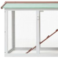 vidaXL Outdoor Large Rabbit Hutch Brown and White 145x45x85 cm Wood - Brown