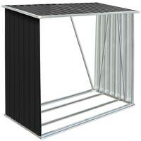 vidaXL Garden Log Storage Shed Galvanised Steel 163x83x154 cm Anthracite - Anthracite