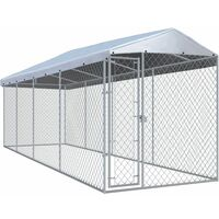 vidaXL Outdoor Dog Kennel with Roof 760x190x225 cm - Silver