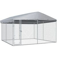 vidaXL Outdoor Dog Kennel with Roof 382x382x225 cm - Silver