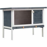 vidaXL Outdoor Rabbit Hutch 1 Layer Grey Wood - Grey