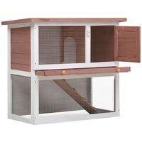 vidaXL Outdoor Rabbit Hutch 1 Door Brown Wood - Brown