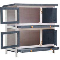 vidaXL Outdoor Rabbit Hutch 4 Doors Grey Wood - Grey