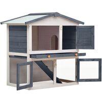 vidaXL Outdoor Rabbit Hutch 3 Doors Grey Wood - Grey