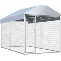 vidaXL Outdoor Dog Kennel with Canopy Top 382x192x225 cm - Silver