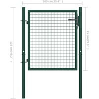 vidaXL Fence Gate Steel 100x75 cm Green