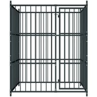 vidaXL Outdoor Dog Kennel 150x150x185 cm - Black
