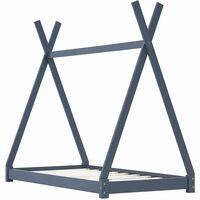 vidaXL Kids Bed Frame Grey Solid Pine Wood 80x160 cm - Grey