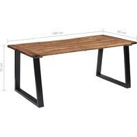 vidaXL Dining Table Solid Acacia Wood 180x90 cm - Brown