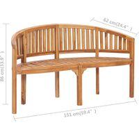vidaXL Banana Bench 151 cm Solid Teak Wood - Brown