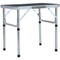 vidaXL Folding Camping Table Grey Aluminium 60x45 cm - Grey