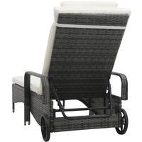 vidaXL Sun Lounger with Wheels Poly Rattan Grey - Grey