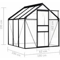 vidaXL Greenhouse Anthracite Aluminium 3.61 m² - Anthracite