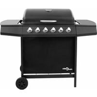 vidaXL Gas BBQ Grill with 6 Burners Black (FR/BE/IT/UK/NL only) - Black