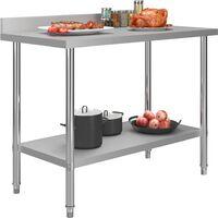 vidaXL Kitchen Work Table with Backsplash 120x60x93 cm Stainless Steel
