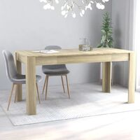 vidaXL Dining Table Chipboard Sonoma Oak 160x80x76 cm - Brown