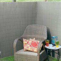 Nature Double Sided Garden Screen PVC 1x3m Grey - Grey