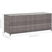 vidaXL Garden Storage Box Grey 120x50x60 cm Poly Rattan - Grey