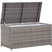 vidaXL Garden Storage Box Poly Rattan 100x50x50 cm Grey - Grey