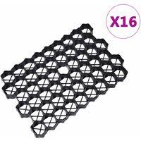 vidaXL Grass Grids 16 pcs 60x40x3 cm Plastic Black