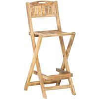 vidaXL Folding Outdoor Bar Chairs 2 pcs Solid Mango Wood - Brown