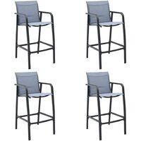 vidaXL Garden Bar Chairs 4 pcs Grey Textilene - Grey
