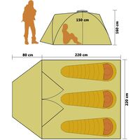 vidaXL Pop Up Camping Tent 3 Person Blue - Blue