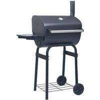 vidaXL Charcoal BBQ Grill Smoker with Bottom Shelf Black - Black
