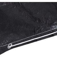 vidaXL Garden Furniture Cover L-Shaped 12 Eyelets 250x90x90 cm - Black
