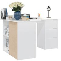 vidaXL Corner Desk 145x100x76 cm Chipboard High Gloss White - White