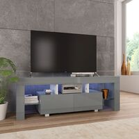 vidaXL TV Cabinet with LED Lights 130x35x45 cm High Gloss Grey - Grey