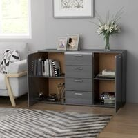 vidaXL Sideboard 120x35,5x75 cm Chipboard High Gloss Grey - Grey