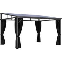 vidaXL Gazebo with Curtain 405x294x244 cm Anthracite - Anthracite