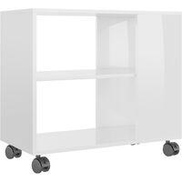 vidaXL Side Table High Gloss White 70x35x55 cm Chipboard - White